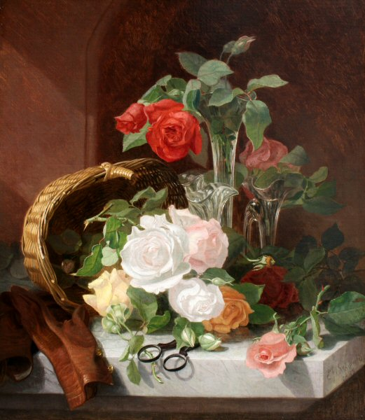 Stannard,_Eloise_Harriet_-_A_Still_Life_of_Flowers_in_a_Glass_Epergne_..._-_1889