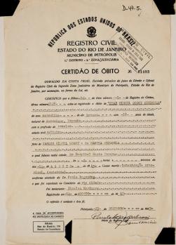 Documento que certifica la defunción de Juan Miguel Godoy Mendoza. Fallecido en el hospital de Santa Teresa, Río de Janeiro, debido a una intoxicación por arsénico (1943).